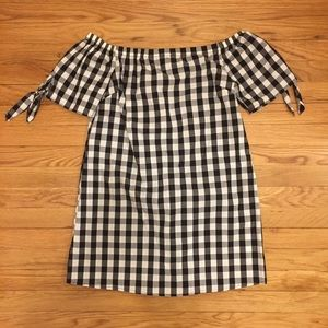 Almost Famous Gingham Off the Shoulder Dress